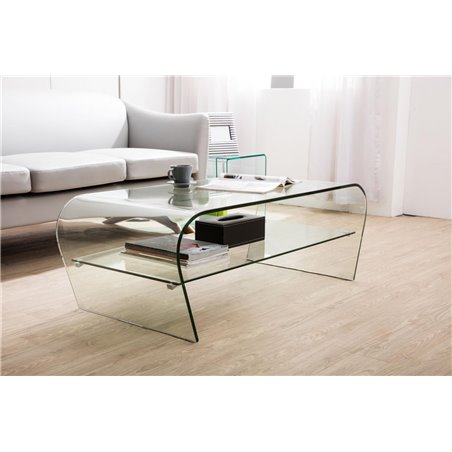 Mesa de centro de cristal curvado con estante Arika 110 cm