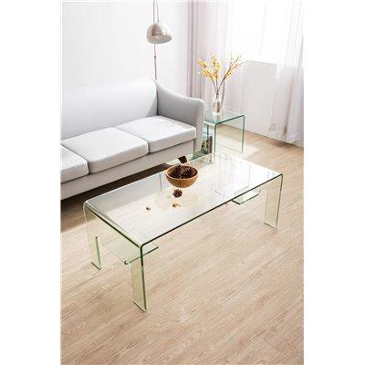 Mesa de centro de cristal curvado Ekala 110 cm