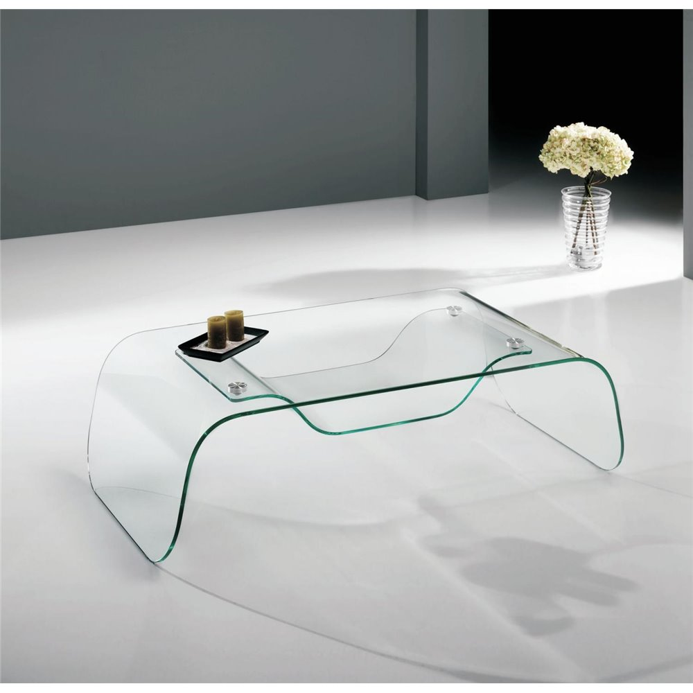 Mesas De Centro De Cristal.Coffee Table With Curved Glass Arinya 120 Cm
