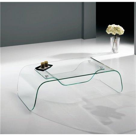 Mesa de centro de cristal curvado Arinya 120 cm