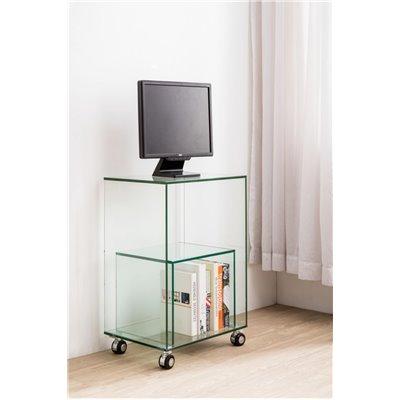 Mesa auxiliar de cristal templado con ruedas 46 cm