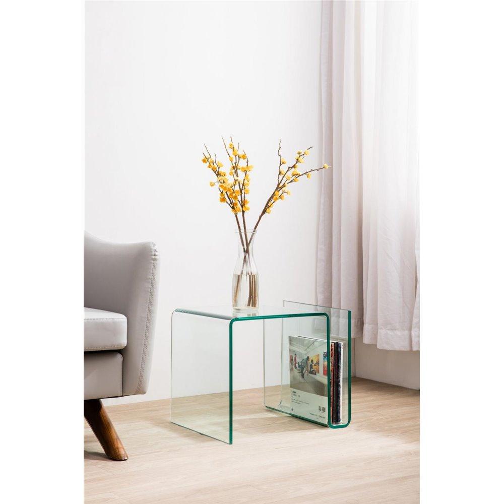 Mesa auxiliar con revistero de cristal curvado 50 cm