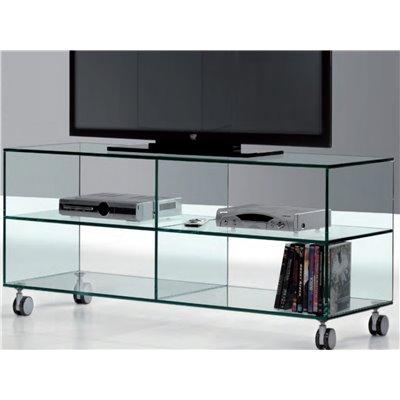 Table en cristal TV avec roulettes Kolet 125 cm