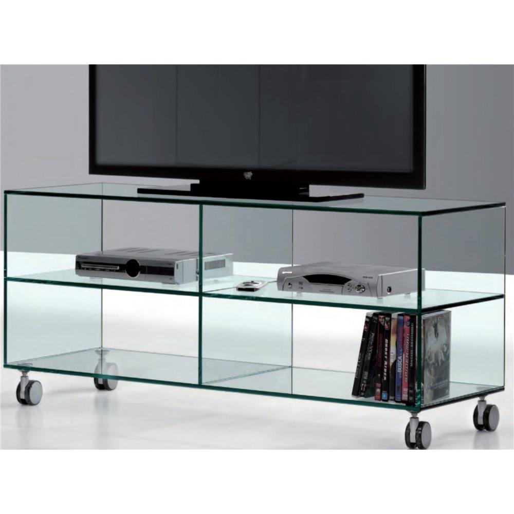 Mobile Porta Tv Cristallo Prezzi.Mobile Porta Tv Vetro Con Ruote Kolet 125 Cm