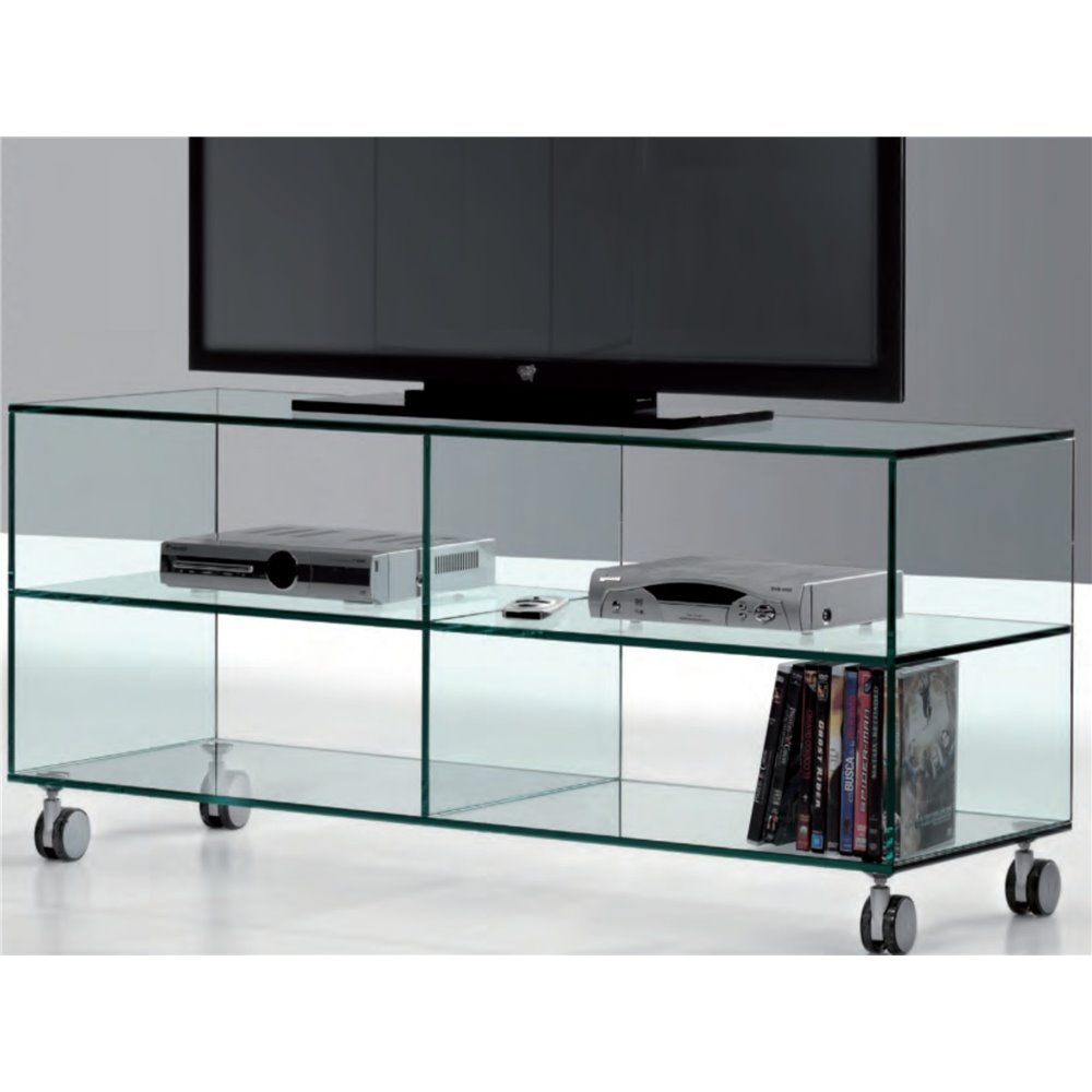 Mobile Porta Tv Vetro.Mobile Porta Tv Vetro Con Ruote Kolet 125 Cm