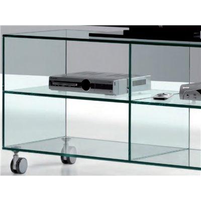 Tavolino Porta Tv.Mobile Porta Tv In Vetro Con Ruote Kolet 125 Cm