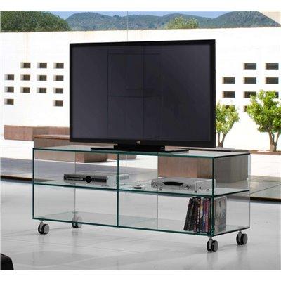 Taula de Televisió cristall amb rodes Kolet 125 cm