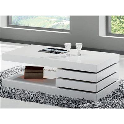Mesa de centro Mini branca con dous caixóns Ver 90 cm