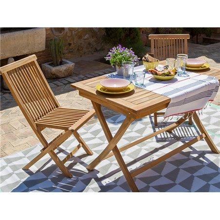 Mesa de teca con 4 cadeiras