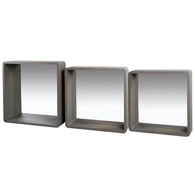 Ensemble de 3 miroirs carrés gris