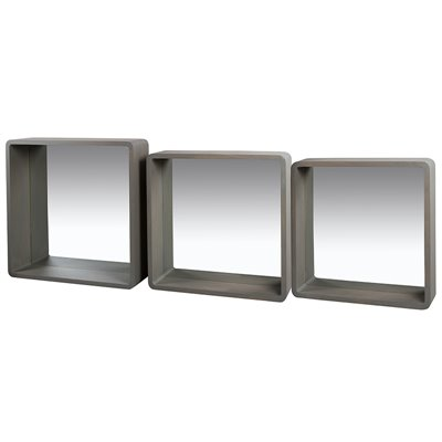 Set of 3 gray square mirrors