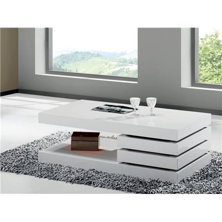White mini coffee table with two drawers Vesela 90 cm