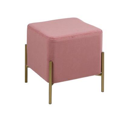 Gold and coral square stool