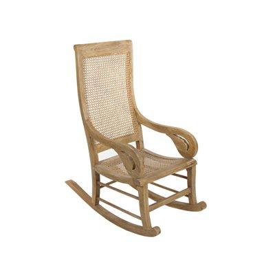 Sedia a dondolo in bambù / rattan con cuscino