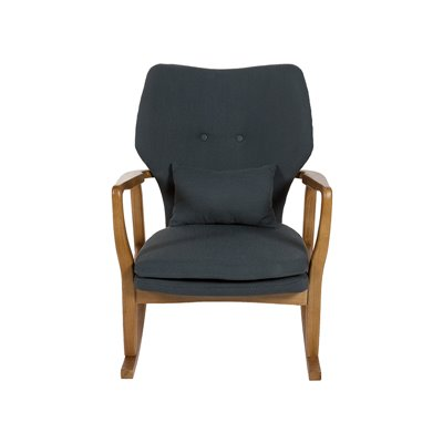 Gray upholstered rocking chair