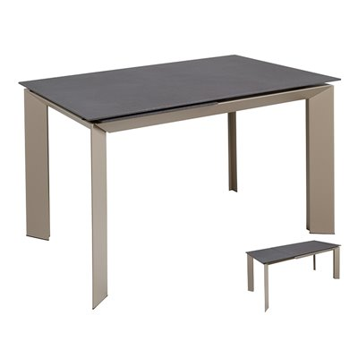 Gray extendable dining table