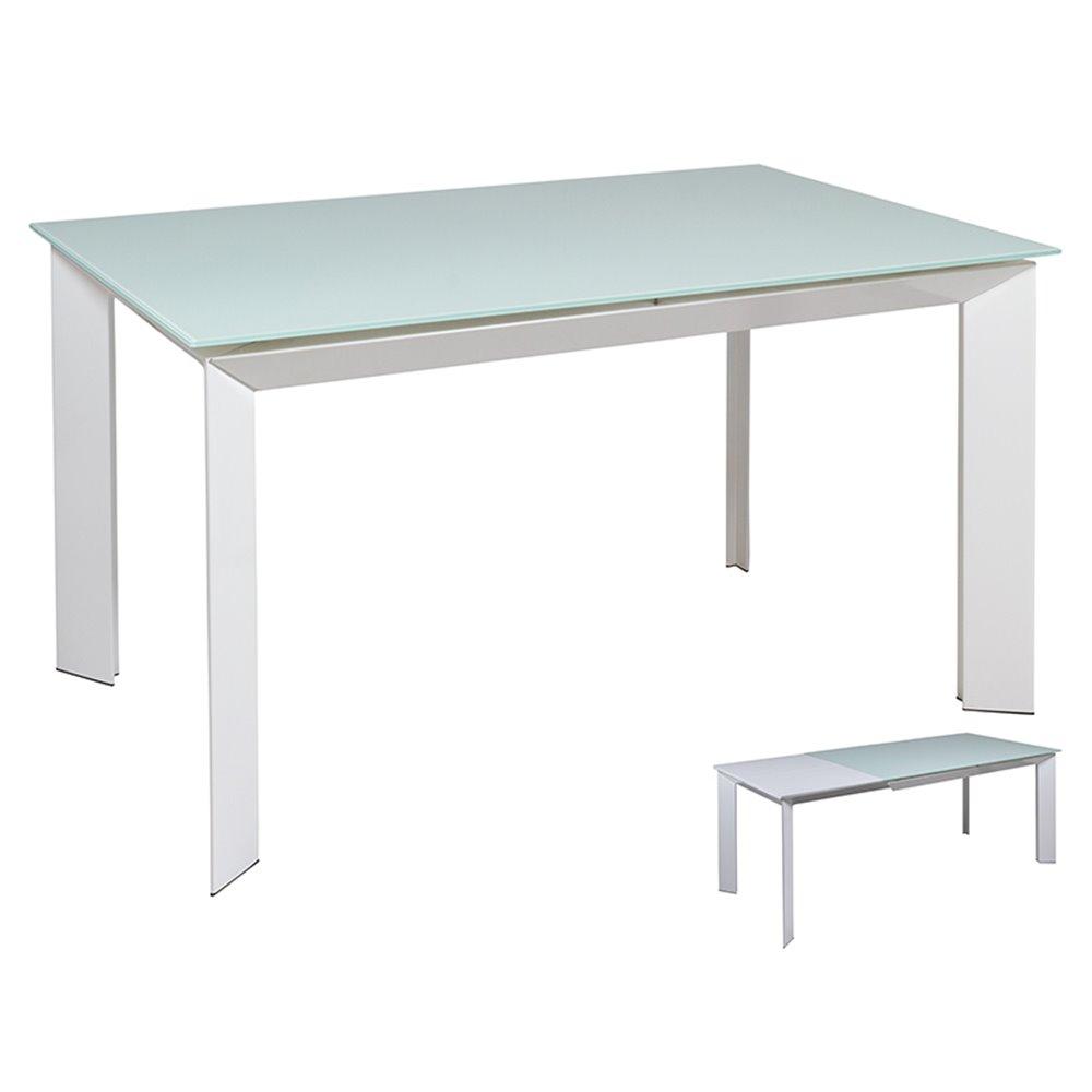 Mesa de comedor extensible blanca