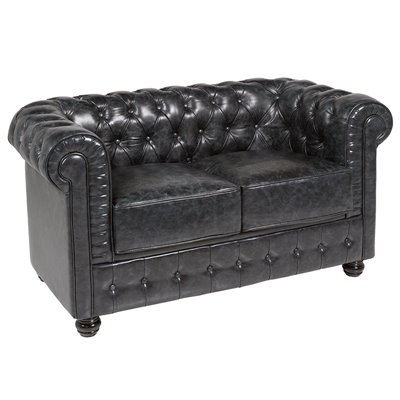 2 seater sofa Chester black leather