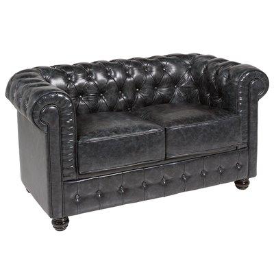 Sofá de 2 plazas Chester piel negro