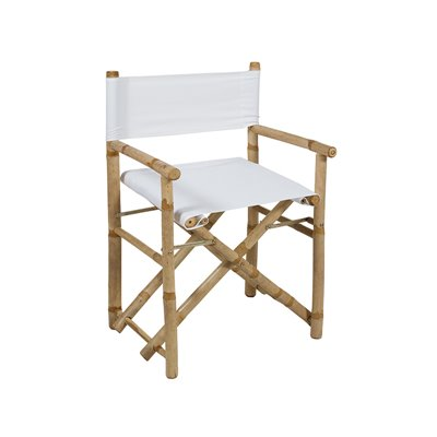 Bamboo folding director chair with white fabric