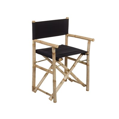 Bamboo folding director chair with black fabric