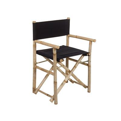 Silla director plegable de bambú con tela negra