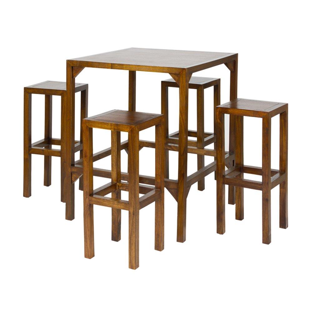 Mesa alta con 4 taburetes