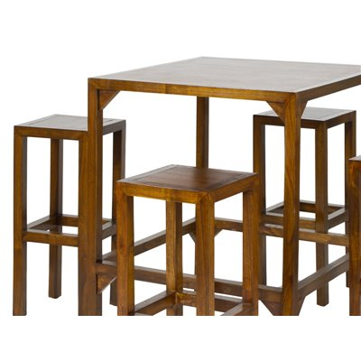 Bar table with 4 stools 80x80x100 cm