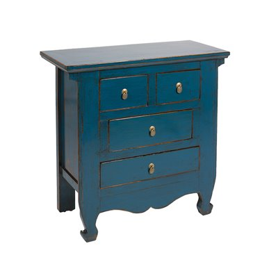 Console with 4 drawers blue