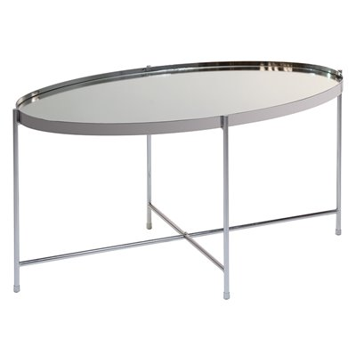 Mesa de centro oval prata