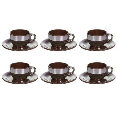 Set 6 Tasse Tee mit braunen Glanz
