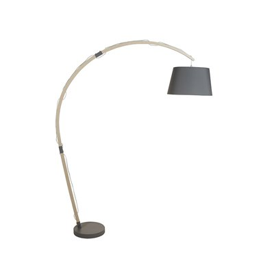 Curved floor lamp made of iron and oak wood