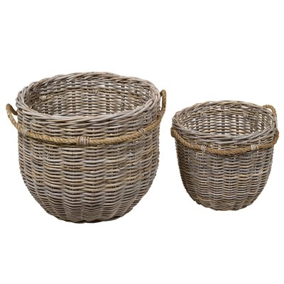 Set of 2 round rattan baskets