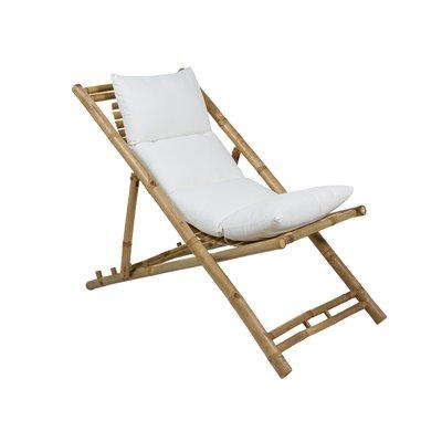 Cadeira de praia pregable de bambú con coxín
