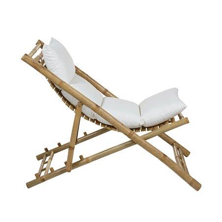 Bamboo folding beach chair with cushion
