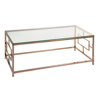 Vel gold coffee table with glass
