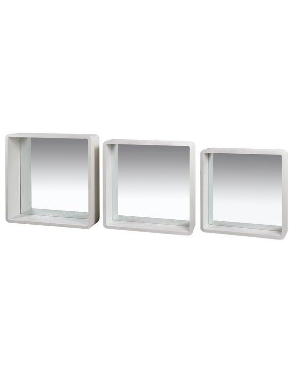 Conxunto de 3 espellos cadrados Brancos