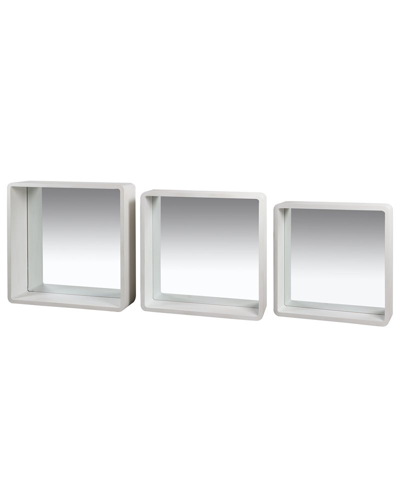 Set of 3 white square mirrors