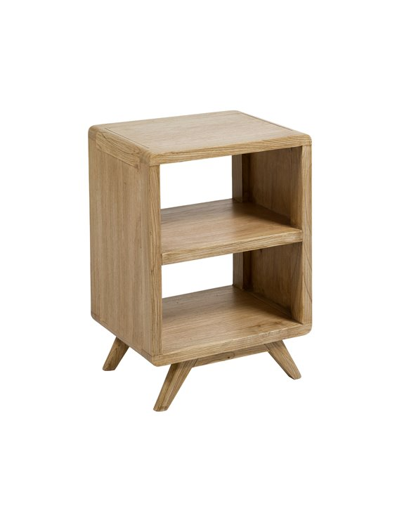 Bedside table with clear shelves