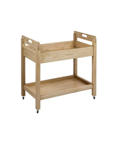 Light wood colonial kitchen / cocktail cart