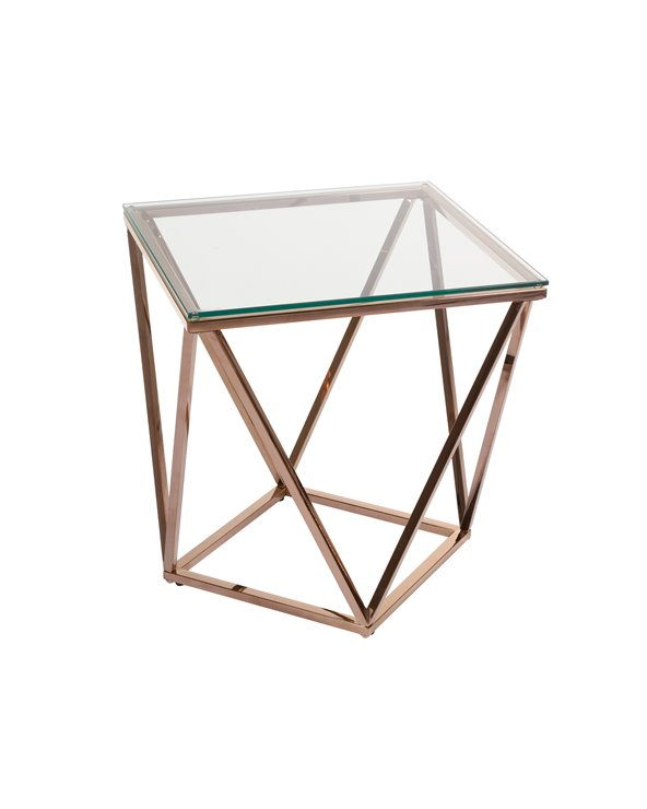 Pris gold Side table with glass