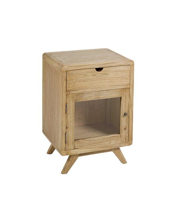 Mesa de cabeceira com gaveta e porta clara