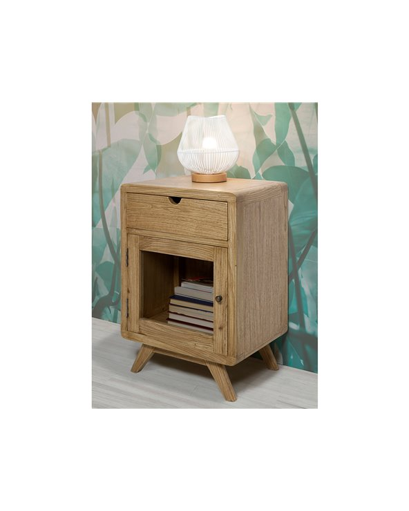 Bedside table with drawer and door clear