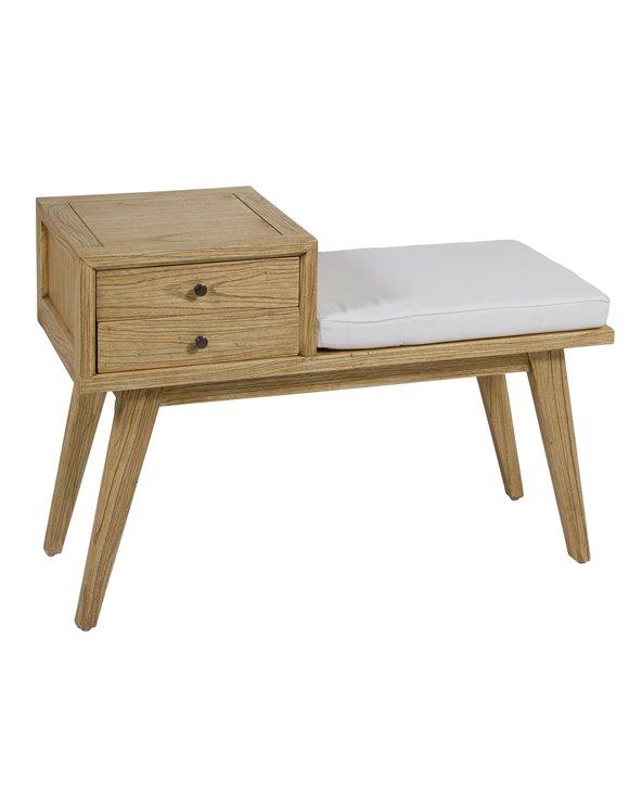 Banco Jenki com gavetas de madeira clara