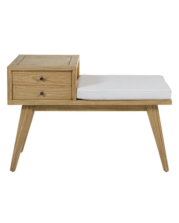 Jenki Bench with drawers light wood