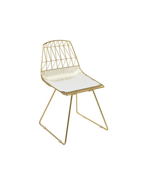 Metallstuhl mit weißem Sitz