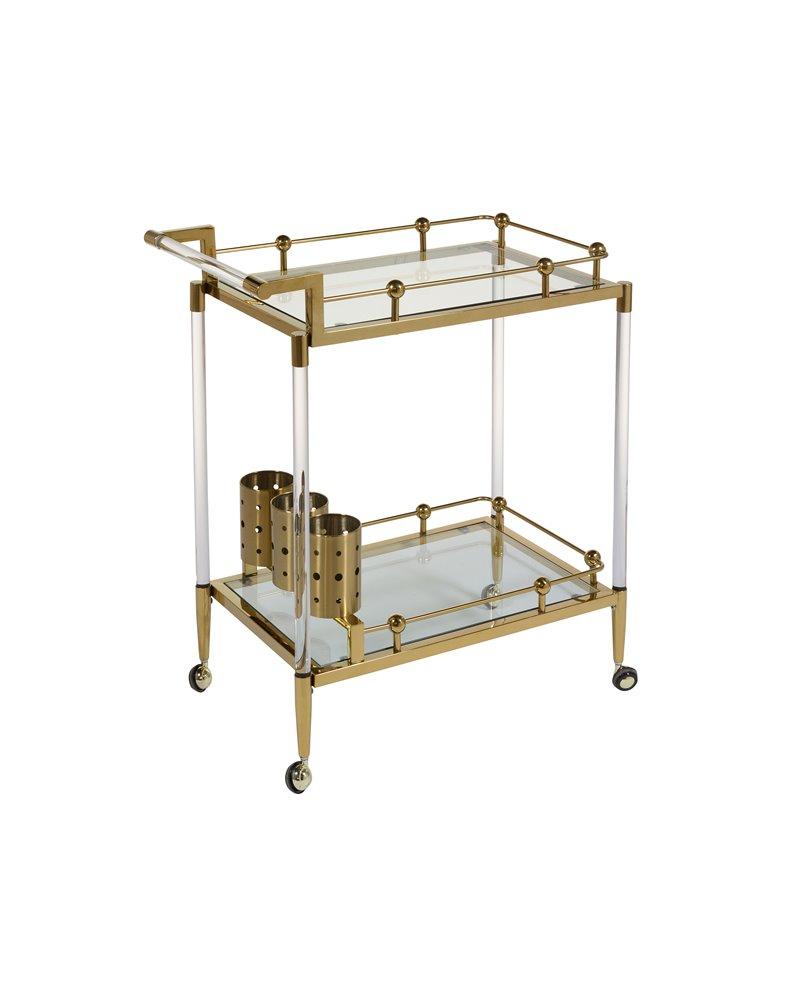 Cart - Waitress trolley with wheels golden