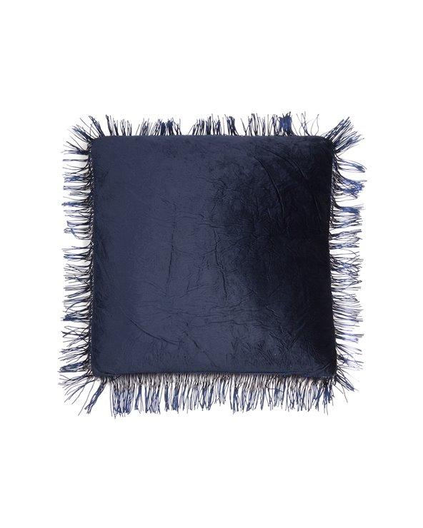 Blue fringed cushion