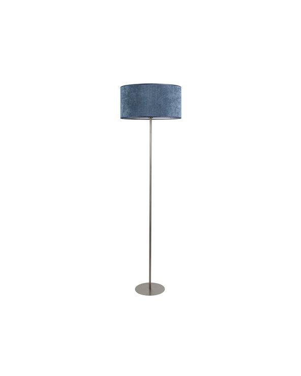 Blue corduroy floor lamp