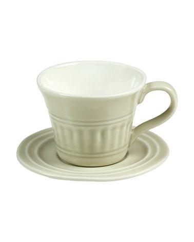 Taza con plato Abitare beige